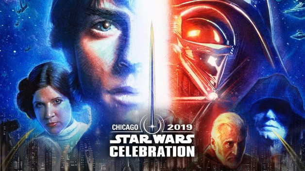 Affiche de célébration Star Wars 2019 Luke Skywalker Darth Vader Princesse Leia empereur