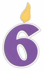 Custom Birthday Number 6 Candle Laser Die Cut
