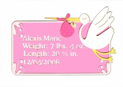 Custom Birth Announcement Girls Laser Die Cut