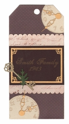 Custom Vintage Patterned Family Tag Laser Die Cut